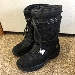 Coach Black Logo Sela Winter Boots Size 6